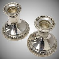 "Signed Duchin Creation Sterling Silver Pair of Weighted ""Old Master"" Design Candlesticks"