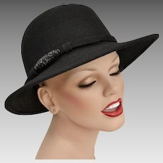 Astre Signed Black Wool w/ Bead Accent Union Made Fedora Ladies Hat