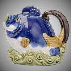 Circa 1991 Nouveau Majolica Blue Fish Glazed Ceramic Tea or Coffee Pot