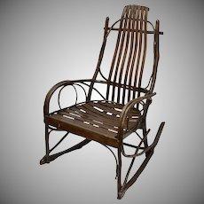 Rustic Cabin or Mountain Lodge Twig Wood Rocking Chair