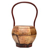 Antique Hand Painted Wooden Rice Bucket