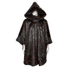 John Weitz Chocolate Brown Faux Fur Hooded Cape / Coat