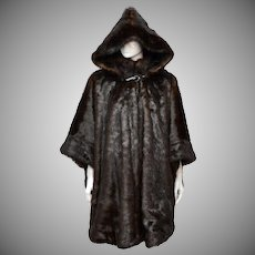 John Weitz Chocolate Brown Faux Fur Hooded Cape / Coat