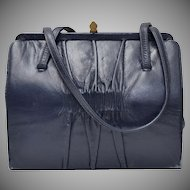 Designer Signed Mam'Selle Navy Blue Ruched Leather Double Handle Handbag Purse