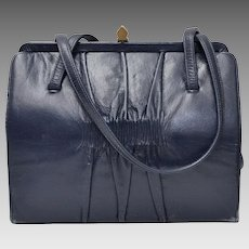 Designer Signed Mam'Selle Navy Blue Ruched Leather Double Handle Handbag Purse
