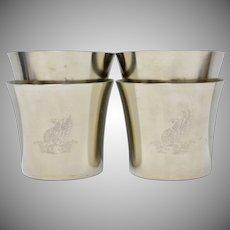 Royal Holland Pewter Large Tumbler Cups - Set of 4 w/ No Monogram