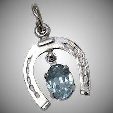 Danecraft Signed Sterling Silver Horseshoe & Blue Rhinestone Charm