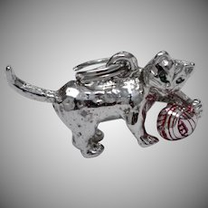Solid Sterling Silver Cat w/ Red Enamel Ball of Yarn Charm