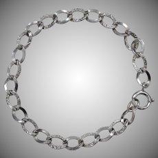 B.A. Ballou 'BAB' Signed Sterling Silver Repousse Link Charm Bracelet