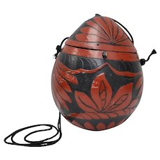 Hand Carved Red & Black Painted Coconut Purse / Shoulder Bag