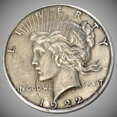 1922 Peace Liberty Silver One Dollar Coin