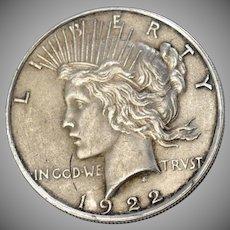 1922 Peace Liberty Silver One Dollar Coin