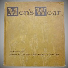 "Oversized Circa 1950 Men's Wear Fashion ""60th Anniversary 1890-1950"" Hardcover Book"