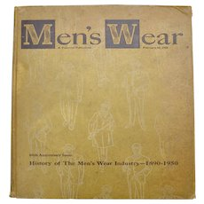 "Oversized Circa 1950 Men's Wear Fashion ""60th Anniversary 1890-1950"" Hardcover Book"