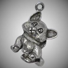 Solid Sterling Silver Kitten w/ Bow Dangle Charm