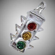 Sterling Silver Red, Yellow & Green Rhinestone Stop Light Dangle Charm