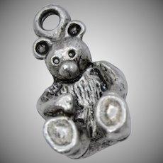Solid Sterling Silver Teddy Bear Dangle Charm
