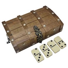 Complete Set of Dominoes in Wooden Treasure Chest