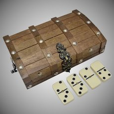 Complete Set of Dominoes in Wooden Treasure Chest