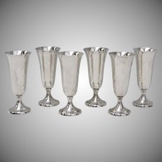 Gorham Sterling Silver Set of 6 Cordial Cups or Shot Glasses #951