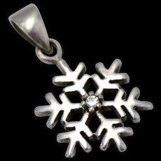 Sterling Silver & Diamond Chip Small Snowflake Pendant