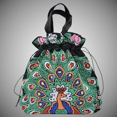 Hand-beaded Peacock & Rose Drawstring Handbag