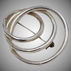 Sterling Silver Interlocking Triple Circle Brooch/Pin