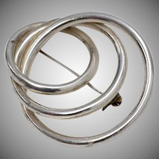 Sterling Silver Interlocking Triple Circle Brooch/Pin
