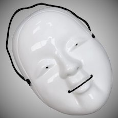 Netsuke Inspired White Ceramic Asian Mask Wall Hanging Decoration