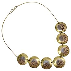 Bold Artisan Made Mixed Metals Copper & Brass Disc w/ Tentacles Statement Necklace
