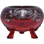 Circa 1950s Viking Glass Ruby Red Bowl w/ Silver Daffodil Overlay