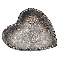 Stieff Sterling Silver Floral Repousse Heart Shaped Pin Tray - Perfect for Valentine's Day