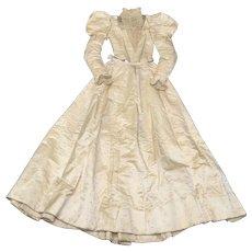 Circa 1893 American Tagged Victorian Era Delicate Cream Silk Satin, Lace & Faux Pearl Wedding Gown