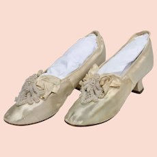 Circa 1893 Victorian Era Ivory White Silk Beaded Wedding Shoe / Heels w/ Provenance