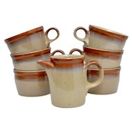 13-Pc Mikasa Potters Art Studio Ben Seibel Ceramic Country Cabin 6 Mugs, 6 Saucers & Creamer