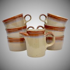 13-Pc Mikasa Potters Art Studio Ben Seibel Ceramic Country Cabin 6 Mugs, 6 Saucers & Creamer