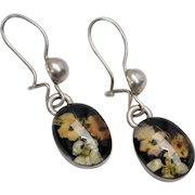 Dainty Sterling Silver Flower Bouquet Black Lucite Pierced Earrings
