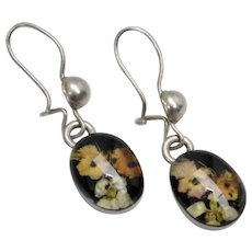 Dainty Sterling Silver Flower Bouquet Black Lucite Pierced Earrings