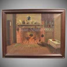 Victorian Era Original Interior of Cabin or Primitive Home w/ Cast Iron Pot in Open Fire - Original Painting in Wood Frame