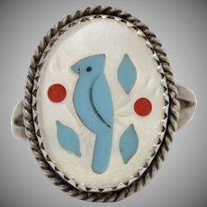 Sterling Silver Southwestern Style Blue Jay Bird Gemstone Inlay Mother of Pearl Ring