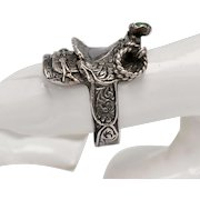 Sterling Silver w/ Green Turquoise Horn Figural Western Saddle Ring