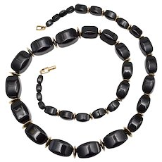 """Napier Signed 30"""" Long Chunky Black Bead w/ Gold Spacers Necklace"""
