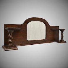 Antique Genuine Wood Barclay Twist Shelf Mantel Mirror