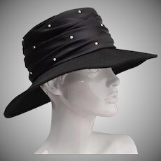 Georgi Designer Black Silk w/ Rhinestones Genuine Wool Ladies Hat