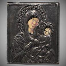 Fine Silver 999 Virgin Mary/Madonna & Child Religious Byzantine Icon