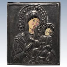 Fine Silver 999 Virgin Mary/Madonna & Child Religious Byzantine Icon