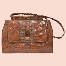 Large Genuine Alligator Handbag