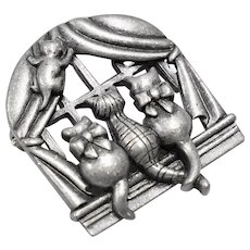 Signed AJC Kitty Cats in The Window Pewter Brooch/Pin