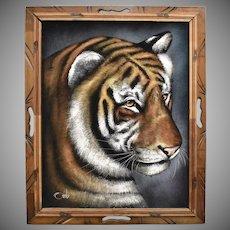 Circa 1970s Signed Ortiz Black Velvet Tiger Painting in Wood Frame - Mexico