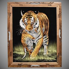 Circa 1970s Signed Diane Black Velvet Tiger Painting in Wood Frame - Mexico